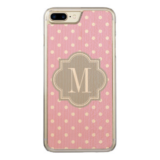 Lavender Polka Dot with Gray Monogram Carved iPhone 7 Plus Case