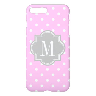 Lavender Polka Dot with Gray Monogram iPhone 7 Plus Case