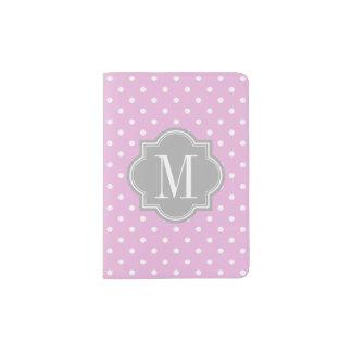 Lavender Polka Dot with Gray Monogram Passport Holder