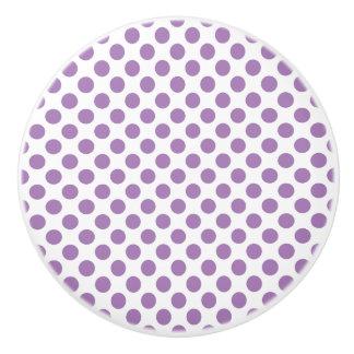 Lavender Polka Dots Ceramic Knob