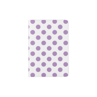 Lavender polka dots on white passport holder