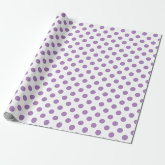 Lavender polka dots on white wrapping paper