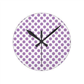 Lavender Polka Dots Round Clock