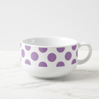 Lavender Polka Dots Soup Bowl With Handle