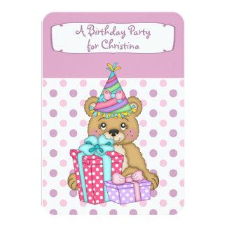 "Lavender Polkadot Bear Birthday Party 3.5"" X 5"" Invitation Card"