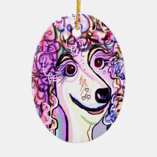 Lavender Poodle Ceramic Ornament