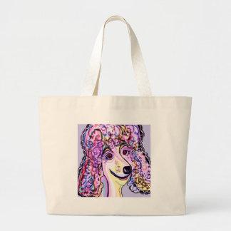 Lavender Poodle Large Tote Bag
