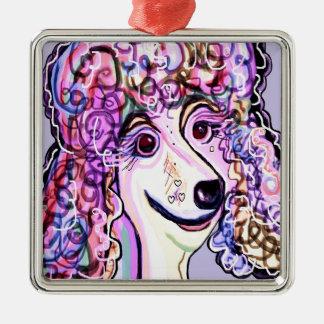 Lavender Poodle Metal Ornament