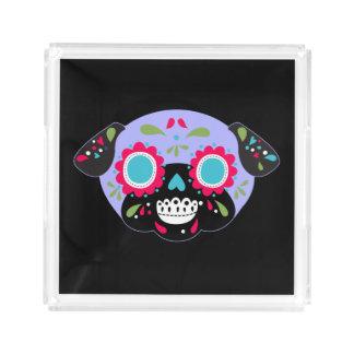 Lavender Pug Sugar Skull Design Acrylic Tray