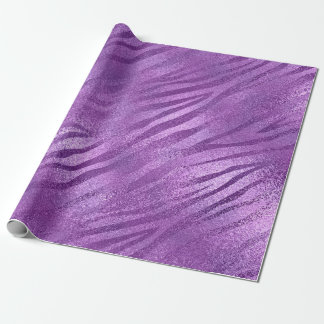 Lavender Purple Amethyst Plum Glam Zebra Animal Wrapping Paper