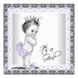 Lavender Purple and Gray Vintage Baby Girl Shower Custom Announcements