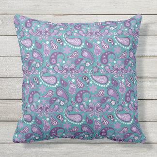 Lavender, Purple, Aqua Mix, Match Floral Paisley Outdoor Pillow