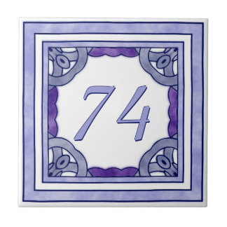Lavender Purple Big House Number Tile