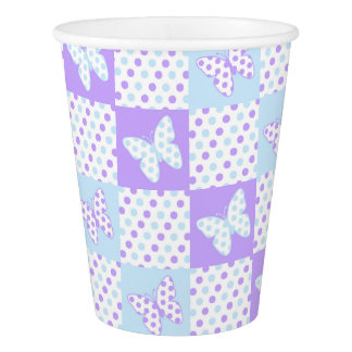 Lavender Purple Blue Butterfly Polka Dot Patchwork Paper Cup