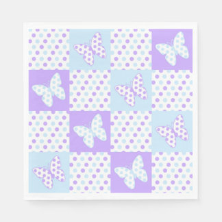 Lavender Purple Blue Butterfly Polka Dot Patchwork Paper Napkin