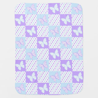 Lavender Purple Blue Butterfly Polka Dot Quilt Baby Blanket