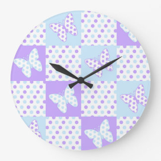Lavender Purple Blue Butterfly Polka Dot Quilt Large Clock