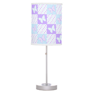 Lavender Purple Blue Butterfly Polka Dot Quilt Table Lamp