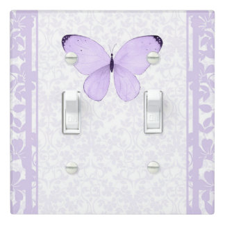 Lavender Purple Butterfly Floral Girls Bedroom Light Switch Cover