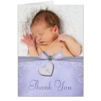 Lavender Purple Cross Christening Thank You Cards
