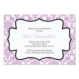 "Lavender Purple Damask Invitation 3.5"" X 5"" Invitation Card"