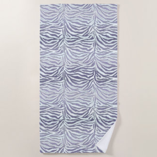 Lavender Purple Exotic Zebra Stripe Animal Print Beach Towel