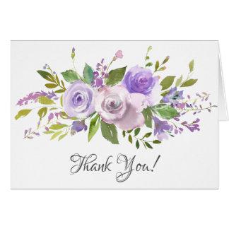 Lavender Purple Floral Bridal Shower Thank You Card
