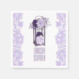 Lavender Purple Floral Lantern Wedding Paper Napkin