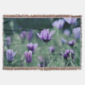Lavender Purple Flowers Throw Blanket