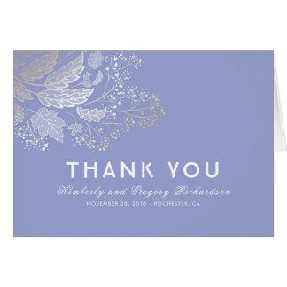 Lavender Purple Foliage Elegant Wedding Thank You Card