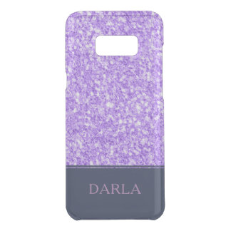 Lavender Purple Glitter Blue Accent & Monogram Uncommon Samsung Galaxy S8 Plus Case