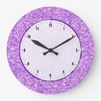 Lavender Purple Glitter Large Clock