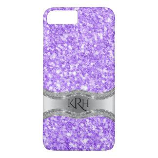 Lavender Purple Glitter Print Silver Accent iPhone 7 Plus Case
