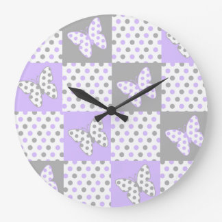 Lavender purple Grey Gray Polka Dot Quilt Girl Large Clock