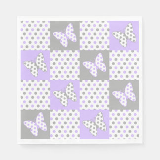 Lavender purple Grey Gray Polka Dot Quilt Girl Paper Napkin