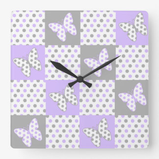 Lavender purple Grey Gray Polka Dot Quilt Girl Square Wall Clock
