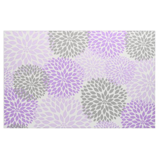 Lavender Purple Grey Modern Dahlia Floral Print Fabric