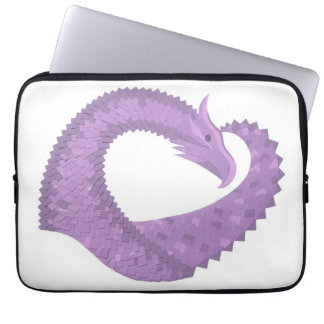 Lavender purple heart dragon on white laptop sleeve