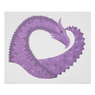 Lavender purple heart dragon on white poster