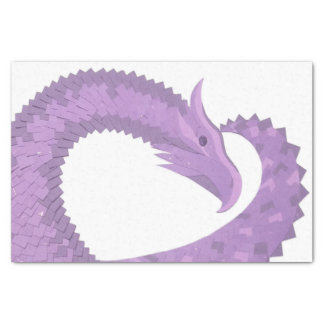 Lavender purple heart dragon on white tissue paper