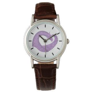 Lavender purple heart dragon on white watch