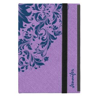 Lavender Purple Linen Texture Royal Blue Lace Cover For iPad Mini