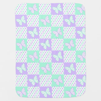 Lavender Purple Mint Green Butterfly Polka Dot Baby Blanket