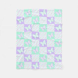 Lavender Purple Mint Green Butterfly Polka Dot Fleece Blanket