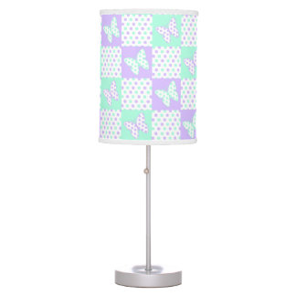 Lavender Purple Mint Green Butterfly Polka Dot Table Lamp