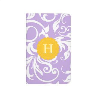 Lavender Purple Peach Floral Swirl Monogram Journal