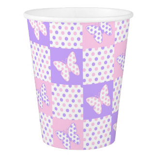 Lavender Purple Pink Butterfly Polka Dot Patchwork Paper Cup