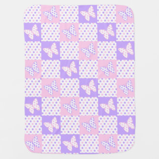 Lavender Purple Pink Butterfly Polka Dot Quilt Baby Blanket