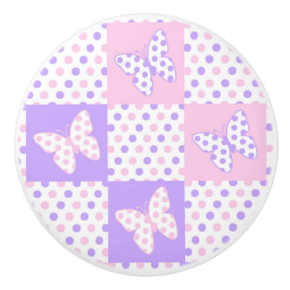 Lavender Purple Pink Butterfly Polka Dot Quilt Ceramic Knob