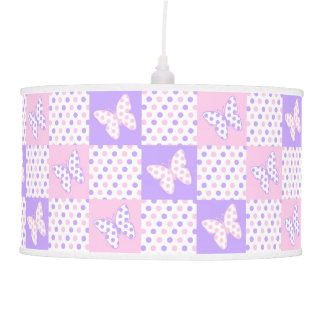 Lavender Purple Pink Butterfly Polka Dot Quilt Pendant Lamp